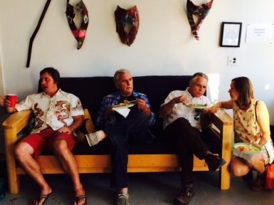 Attendees enjoyed chocolate cream pie after the meal at Saturday's opening for Isleton artists.