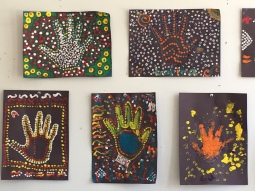 Children came to F and Main Gallery today and did Australian Aborigine art. Wow! They really get it.